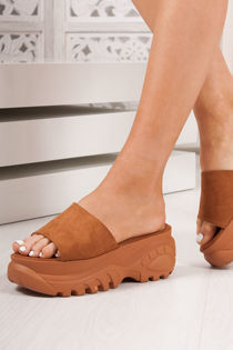 MARNIE Tan Faux Suede Chunky Sole Flatform Sliders