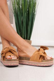 NORELLE Tan Bow Aztec Flatform Sandals