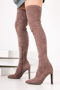 CECILIA Taupe Faux Suede Slim Block Heel Over The Knee Boots