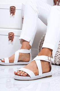 HEIDI White Strappy Rope Sandals
