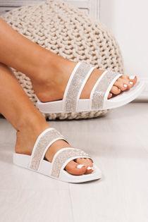 MYLA White Double Strap Diamante Sliders