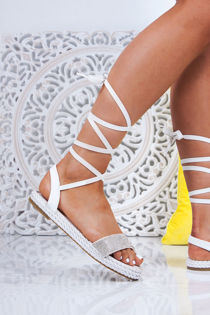 CELINE White Wrap Up Rope Sandals With Diamante Detail