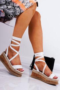 INDIGO White Croc Print Wrap Up Espadrille Flatforms