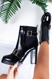 NATALIA Black Patent Buckle Strap Heeled Ankle Boots