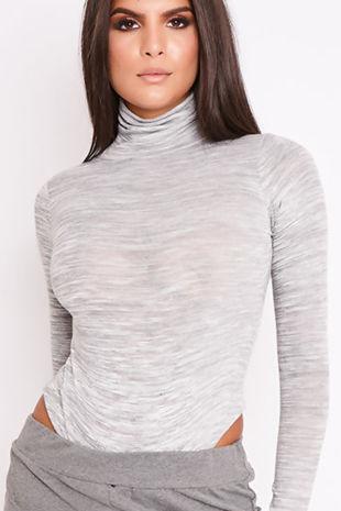 EVE Grey Long Sleeve Roll Neck Bodysuit