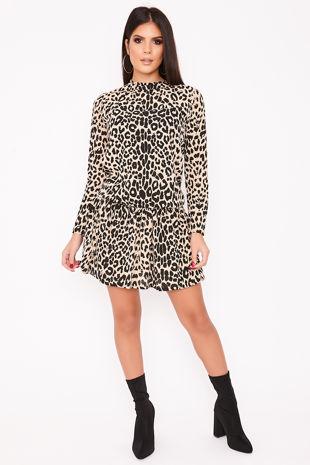 MAEVA Leopard Print Frill Hem Shift Dress