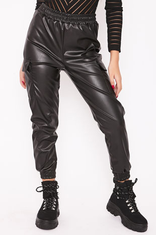 MILLIE Black Faux Leather Cargo Joggers