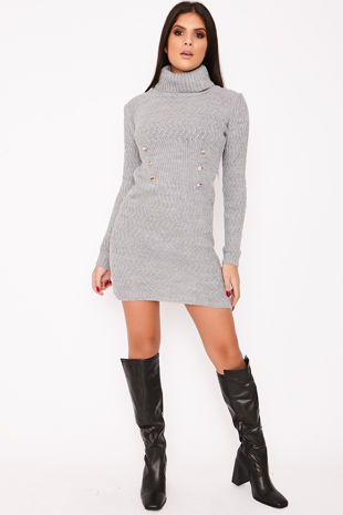 KIMMIE Grey Knitted Roll Neck Button Detail Jumper Dress