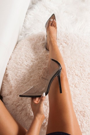 ANYA Black Clear Court Heels