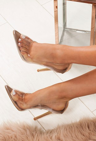 ANYA Rose Gold Clear Court Heels