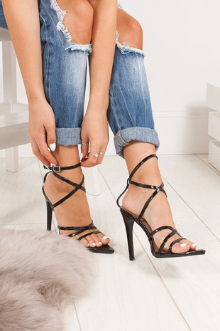 AURORA Black Pointy Wrap Up Heels
