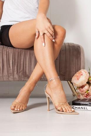 AURORA Clear Pointy Wrap Up Heels