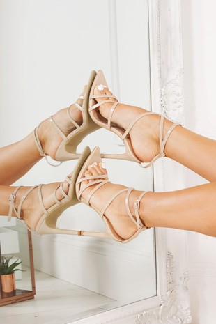 AURORA Nude Pointy Wrap Up Heels