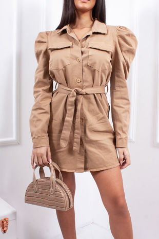 AMELIA Beige Puff Sleeve Belted Shacket Dress
