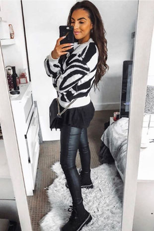 CHER Zebra Print High Neck Knitted Jumper
