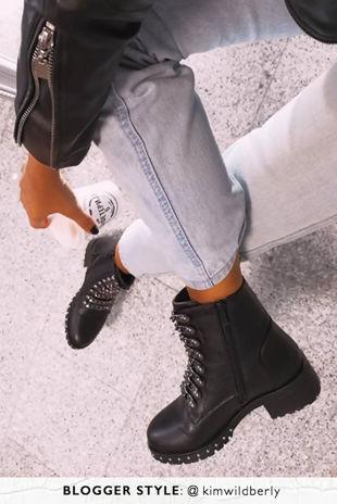 NATALIA Black Chain Strap Detail Biker Boots