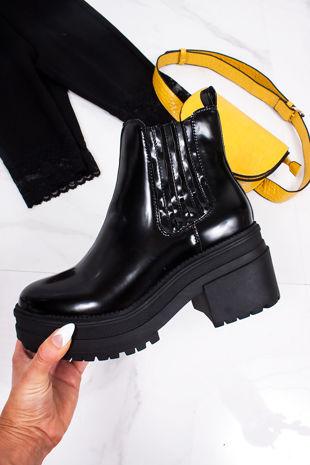 STEFFANI Black Matte Chunky Chelsea Boots