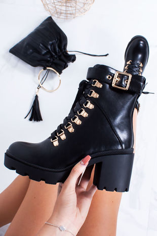 TESSA Black Lace Up Buckle Strap Heeled Boots