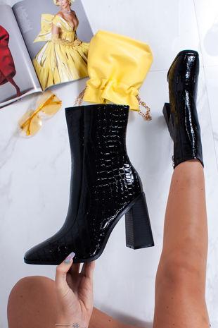 PERRIE Black Croc Print Block Heel Ankle Boots