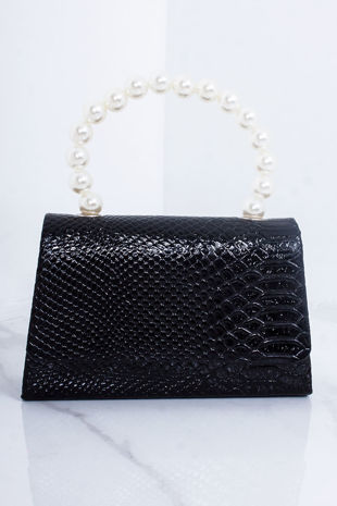 JULIA Black Snake Print Pearl Detail Mini Grab Bag