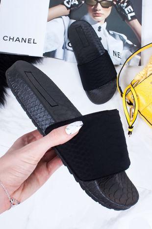 ZOEY Black Croc Print Strap Sliders