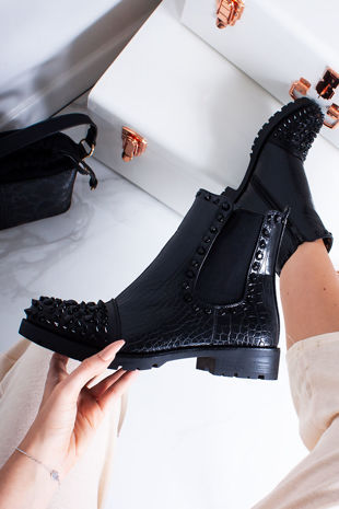 SYLVIE Black Croc Print Ankle Boots With Black Spike Details