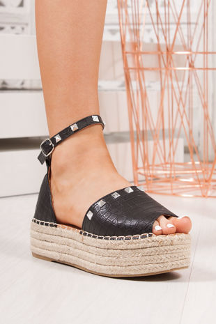 SHELBY Black Croc Print Stud Detail Espadrille Flatforms