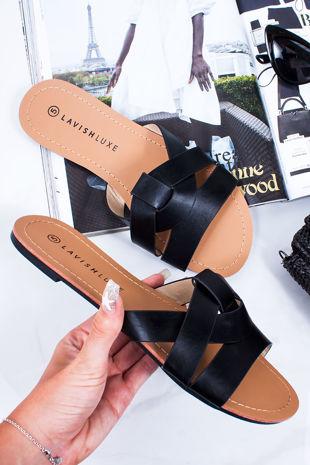 HOLLIE Black Cross Strap Mule Sandals