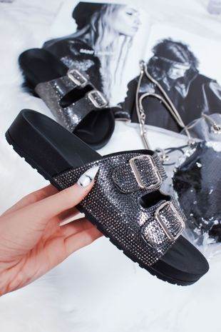 FAYE Black Diamante Double Buckle Strap Sliders