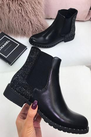 ALYSSA Black Diamante Stud Chelsea Boots