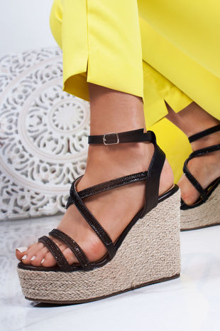 SAFFRON Black Diamante Strap Espadrille Wedges