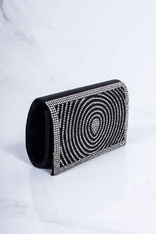 MOLLY Black Diamante Mini Clutch Bag