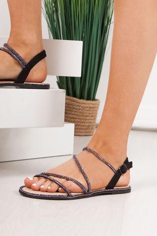 SAVANNA Black Diamante Cross Strap Flat Sandals