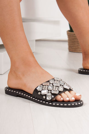 POLLY Black Jewel Embellished Strap Sliders