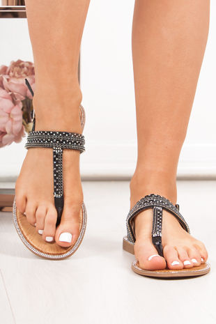 WILLOW Black Diamante Strap Toe Post Sandals
