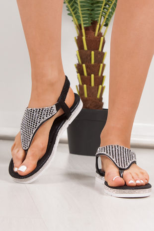 FREYA Black Diamante Detail Slip On Sandals