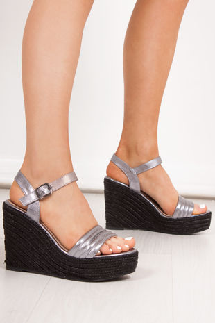 PIPER Black Metallic Quilted Strap Espadrille Wedges