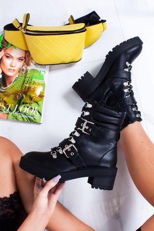ANYA Black Buckle Strap Hiker Boots