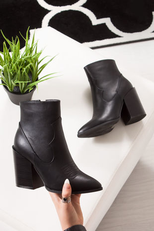 ARABELLA Black Pointed Toe Block Heel Western Boots