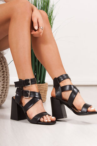 LAUREL Black Cross Strap Block Heeled Sandals