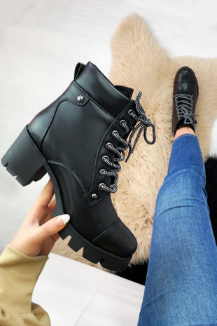 NORTH Black Lace Up Platform Ankle Boots