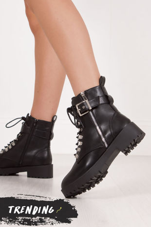 SHARNIE Black Faux Leather Buckle Strap Biker Boots