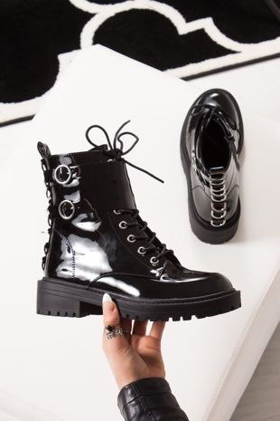 DEMI Black Patent Silver Ring Double Buckle Biker Boots
