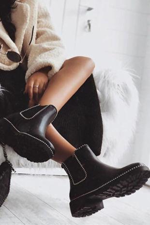 ALEX Black Stud Chelsea Boots