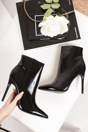 ALEXANDER Black Faux Patent Leather Stiletto Ankle Boots