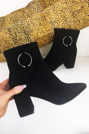 HAZEL Black Faux Suede Ring Detail Ankle Boots