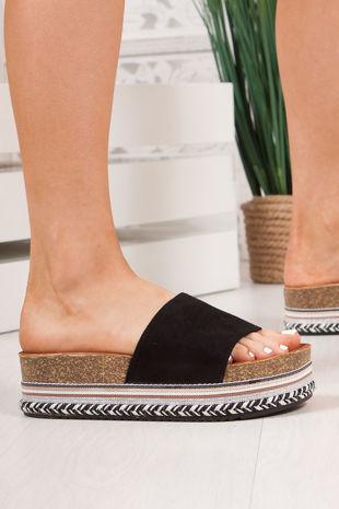 PETRA Black Strap Aztec Flatform Sandals