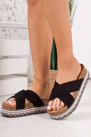ROXIE Black Cross Strap Aztec Flatform Sandals