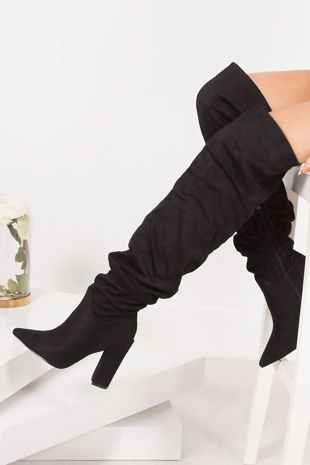 VIVIENNE Black Faux Suede Slouch Over Knee Boots With Block Heel