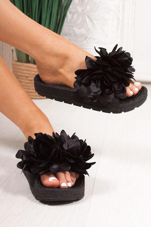 FERGIE Black Flower Strap Espadrille Silders